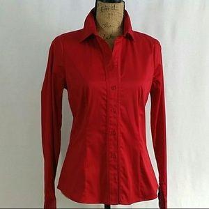 4/$20 Red cotton button down long sleeve Medium